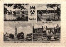 Kędzierzyn-Koźle : m.in. rynek z ratuszem, most na Odrze, herb Koźla, fontanna