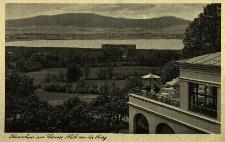 Otmuchów : widok z zamku na jezioro i okolice, z boku fragment zamku, rysunek wykonany piórkiem przez Georga Rasel'a
