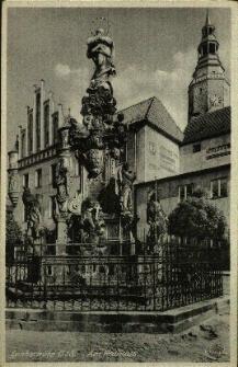 Głubczyce : kolumna Maryjna. Na postumencie Matka Boska z Dzieciątkiem na globie ziemskim, w narożnikach posągi Św. Sebastiana i Idziego