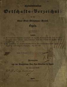 Alphabethisches Ortschafts-Verzeichniss für den Ober-Post-Directions-Bezirk in Januar 1859