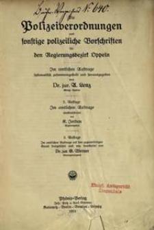 Polizeiverordnungen und sonstige polizeiliche Vorschriften für den Regierungsbezirk Oppeln