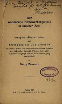 Der wandernde Handwerkergeselle in unserer Zeit : Inaugural-Dissertation zur Erlangung der Doktorwürde der Hohen Rechts- und Staatswissenschaftlichen ...