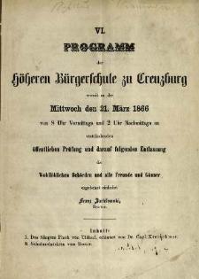 Programm der Höheren Bürgerschule zu Creuzburg womit zu der Mittwoch den 21. März 1866