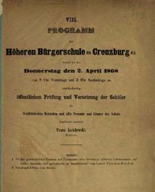 Programm der Höheren Bürgerschule zu Creuzburg womit zu der Donnerstag den 2. April 1868