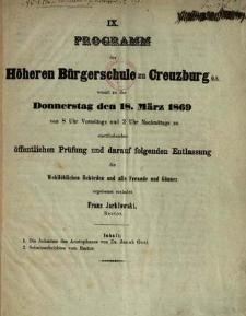 Programm der Höheren Bürgerschule zu Creuzburg womit zu der Donnerstag den 18. März 1869