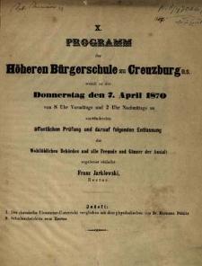 Programm der Höheren Bürgerschule zu Creuzburg womit zu der Donnerstag den 7. April 1870