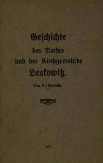 Geschichte des Dorfes und der Kirchgemeine Laskowitz