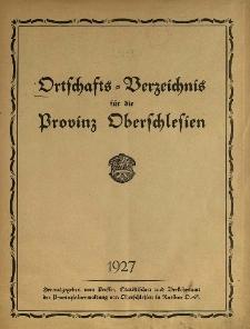 Ortschafts = Verzeichnis für die Provinz Oberschlesien