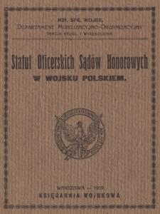 Statut Oficerskich Sądów Honorowych w wojsku polskiem