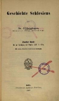 Geschichte Schlesiens. Bd.2: Bis zur Vereinigung mit Preufsen (1527-1740)