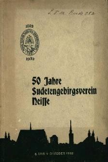 Fünfzig Jahre Sudetengebirgsverein Neisse : 8. und 9. Oktober 1932