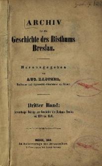Actenmässige Beiträge zur Geschichte des Bisthums Breslau von 1599 bis 1649