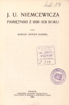 J. U. Niemcewicza pamiętniki z 1830-1831 roku