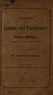 Literatur der Landes- und Volkskunde der Provinz Schlesien umfassend die Jahre .... [T.1] : 1900-1903