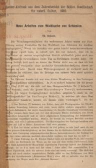 Neue Arbeiten zum Waldbuche von Schlesien