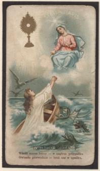 Gwiazdo morza, wśród morza burzy – w nagłym przypadku, Gwiazdo przewodnia – broń nas w upadku.