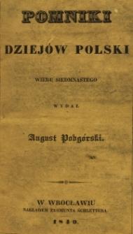 Pomniki dziejów Polski wieku siedemnastego. T.1