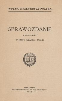 Sprawozdanie z działalności w roku akadem. 1922/23