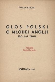 Głos polski o młodej Anglji sto lat temu
