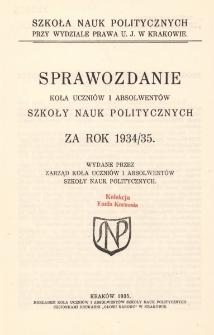 Sprawozdanie Koła Uczniów i Absolwentów Szkoły Nauk Politycznych za rok 1934/35