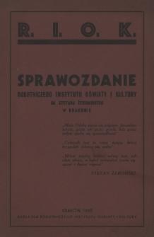 Sprawozdanie Robotniczego Instytutu Oświaty i Kultury im. Stefana Żeromskiego w Krakowie