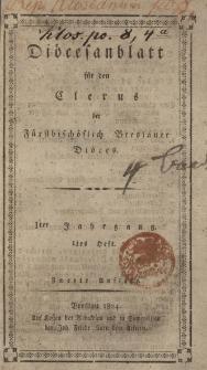 Diöcesenblatt für den Clerus der Fürstbischöflichen Breslauer Diöces. Iter Jg, Ites H.