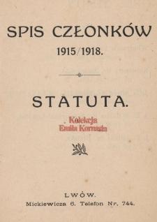 Spis członków 1915/1918 ; Statuta