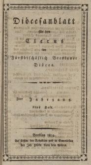 Diöcesenblatt für den Clerus der Fürstbischöflichen Breslauer Diöces. Iter Jg, IItes H.