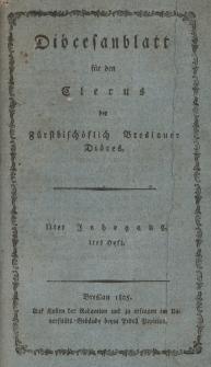Diöcesenblatt für den Clerus der Fürstbischöflichen Breslauer Diöces. IIter Jg, Ites H.