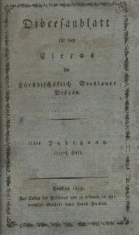 Diöcesenblatt für den Clerus der Fürstbischöflichen Breslauer Diöces. IIter Jg, IIItes H.