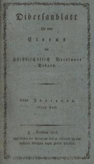 Diöcesenblatt für den Clerus der Fürstbischöflichen Breslauer Diöces. IIter Jg, IVtes H.