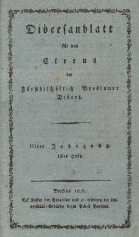 Diöcesenblatt für den Clerus der Fürstbischöflichen Breslauer Diöces. IIIter Jg, Ites H.