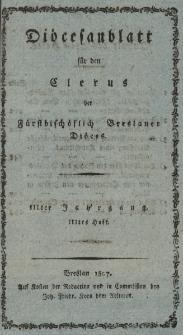 Diöcesenblatt für den Clerus der Fürstbischöflichen Breslauer Diöces. IIIter Jg, IIItes H.