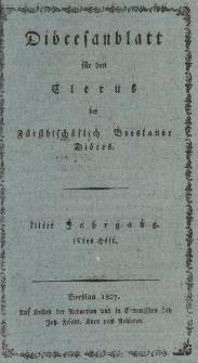 Diöcesenblatt für den Clerus der Fürstbischöflichen Breslauer Diöces. IIIter Jg, IVtes H.