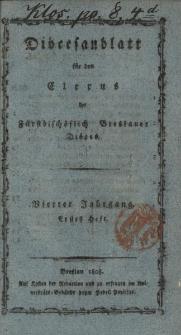 Diöcesenblatt für den Clerus der Fürstbischöflichen Breslauer Diöces. IVter Jg, Ites H.