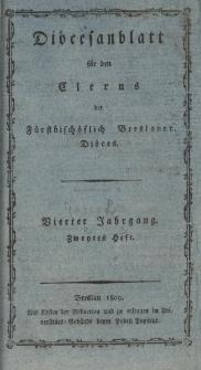 Diöcesenblatt für den Clerus der Fürstbischöflichen Breslauer Diöces. IVter Jg, IItes H.