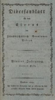 Diöcesenblatt für den Clerus der Fürstbischöflichen Breslauer Diöces. IVter Jg, IIItes H.