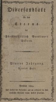Diöcesenblatt für den Clerus der Fürstbischöflichen Breslauer Diöces. IVter Jg, IVtes H.