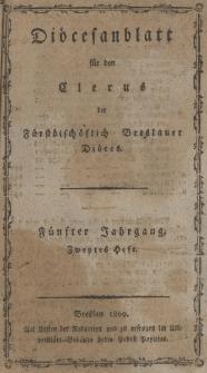 Diöcesenblatt für den Clerus der Fürstbischöflichen Breslauer Diöces. Vter Jg, IItes H.