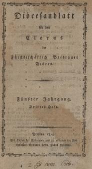 Diöcesenblatt für den Clerus der Fürstbischöflichen Breslauer Diöces. Vter Jg, IIItes H.