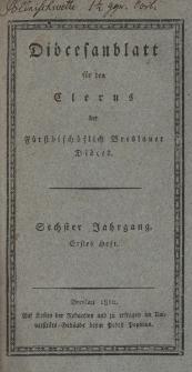 Diöcesenblatt für den Clerus der Fürstbischöflichen Breslauer Diöces. VIter Jg, Ites H.