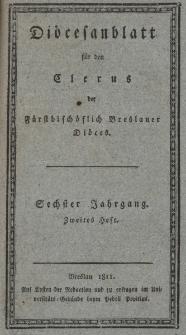 Diöcesenblatt für den Clerus der Fürstbischöflichen Breslauer Diöces. VIter Jg, IItes H.