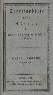 Diöcesenblatt für den Clerus der Fürstbischöflichen Breslauer Diöces. VIter Jg, IIItes H.