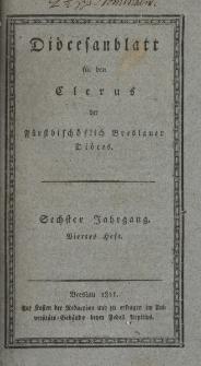 Diöcesenblatt für den Clerus der Fürstbischöflichen Breslauer Diöces. VIter Jg, IVtes H.