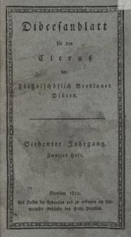 Diöcesenblatt für den Clerus der Fürstbischöflichen Breslauer Diöces. VIIter Jg, IItes H.