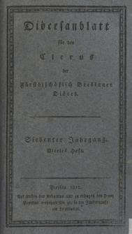 Diöcesenblatt für den Clerus der Fürstbischöflichen Breslauer Diöces. VIIter Jg, IVtes H.