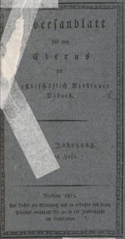 Diöcesenblatt für den Clerus der Fürstbischöflichen Breslauer Diöces. VIIIter Jg, Ites H.