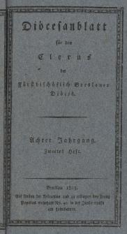 Diöcesenblatt für den Clerus der Fürstbischöflichen Breslauer Diöces. VIIIter Jg, IItes H.