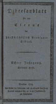 Diöcesenblatt für den Clerus der Fürstbischöflichen Breslauer Diöces. VIIIter Jg, IIItes H.