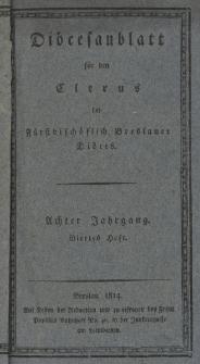 Diöcesenblatt für den Clerus der Fürstbischöflichen Breslauer Diöces. VIIIter Jg, IVtes H.